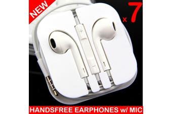 7X Handsfree Headphone Earphone W/ Mic For Iphone 5 4 4S 3Gs Ipad White [7 Pcs]