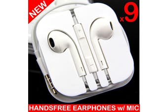 9X Handsfree Headphone Earphone W/ Mic For Iphone 5 4 4S 3Gs Ipad White [9 Pcs]