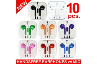 10X Handsfree Headphone Earphone W/ Mic For Apple Iphone 5 4 4S 3Gs Ipad [10Pcs.]