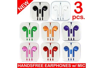 3X Handsfree Headphone Earphone W/ Mic For Apple Iphone 5 4 4S 3Gs Ipad [3Pcs.]