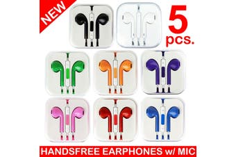 5X Handsfree Headphone Earphone W/ Mic For Apple Iphone 5 4 4S 3Gs Ipad [5Pcs.]