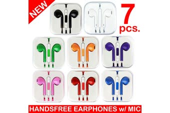 7X Handsfree Headphone Earphone W/ Mic For Apple Iphone 5 4 4S 3Gs Ipad [7Pcs.]