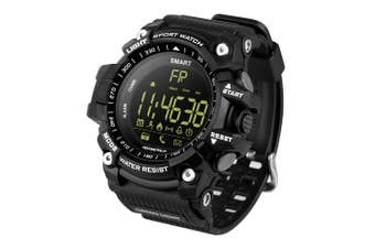 "Bluetooth V4.0 Smart Watch 1.2"" Fstn Lcd Sports Tracker Ip67 Remote Camera - Black"