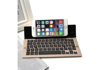 Foldable Bluetooth Keyboard V3.0 Aluminum Alloy For Iphone Android Tablet Pc Gold
