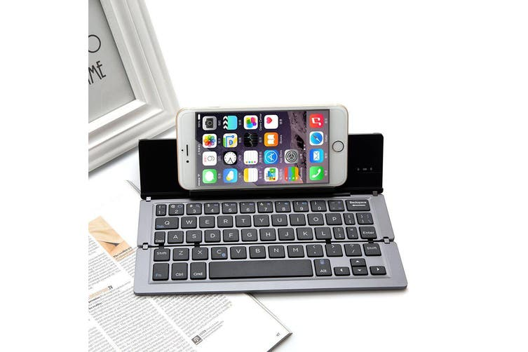Foldable Bluetooth Keyboard V3.0 Aluminum Alloy For Iphone Android Tablet Pc Grey