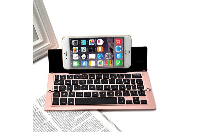 Foldable Bluetooth Keyboard V3.0 Aluminum Alloy For Iphone Android Tablet Pc Rose
