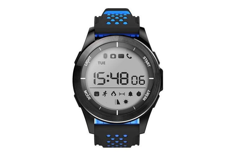 "Bluetooth V4.0 Smart Watch 1.1"" Lcd Calorie Count Pedometer Ip68 Black Blue"