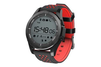 "Bluetooth V4.0 Smart Watch 1.1"" Lcd Calorie Count Pedometer Ip68 Black Red"