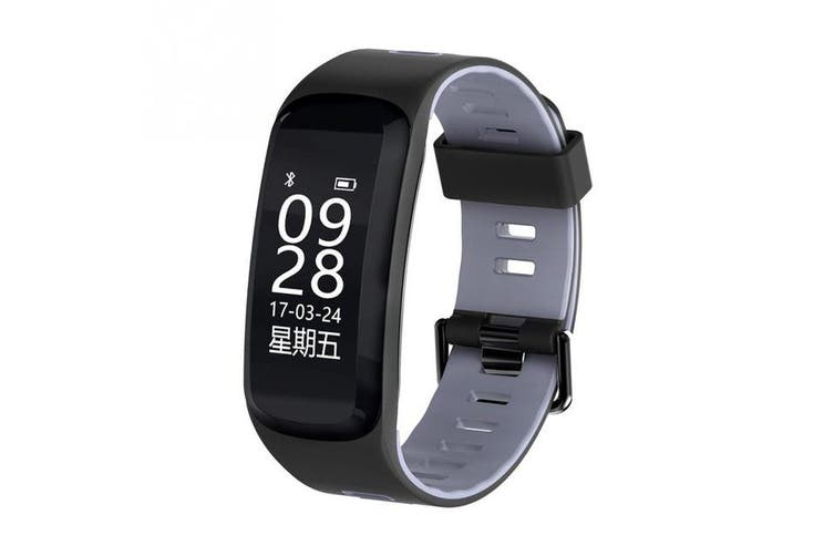 """Bluetooth V4.0 Smart Watch 0.96"""" Oled Heart Rate Blood Oxygen Gps Ip68 Grey"""