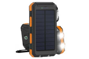TODO 8000Mah Solar Power Bank Mobile Phone Usb Iphone Charger Led Torch - Black Orange