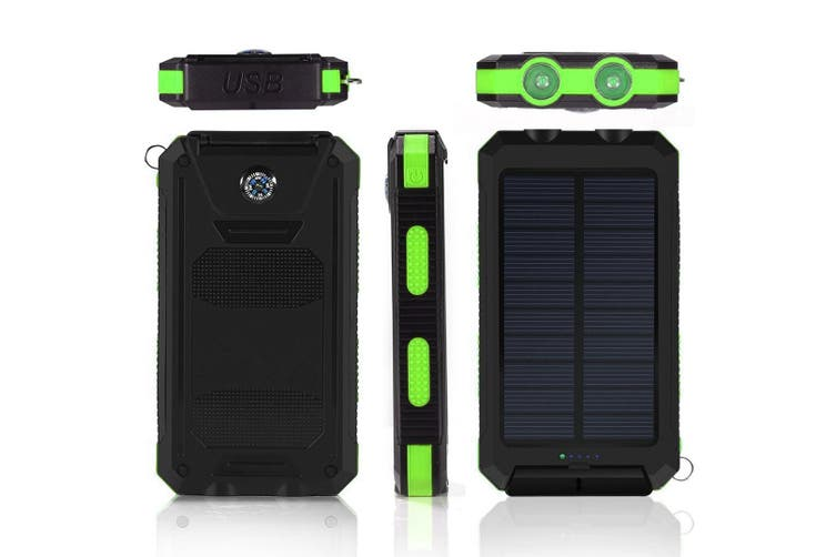TODO 8000Mah Solar Power Bank Mobile Phone Usb Iphone Charger Led Torch - White Blue