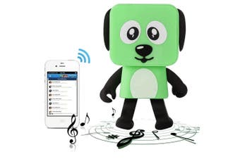 Bluetooth V4.1 Dancing Robot Dog Speaker Portable Rechargeable - Green
