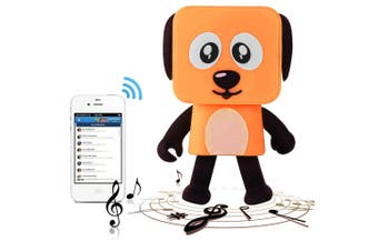 Bluetooth V4.1 Dancing Robot Dog Speaker Portable Rechargeable - Orange