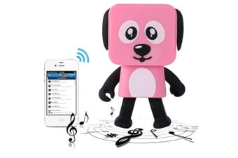 Bluetooth V4.1 Dancing Robot Dog Speaker Portable Rechargeable - Pink