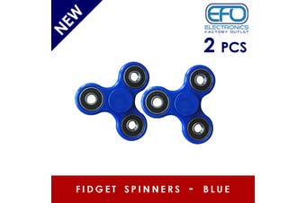 2Pcs 3D Hand Spinner Fidget Toy Stress Reliever Fast Bearing Gear Spin Abs Blue 2X