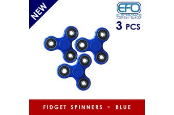 3Pcs 3D Hand Spinner Fidget Toy Stress Reliever Fast Bearing Gear Spin Abs Blue 3X