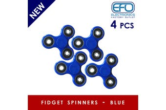 4Pcs 3D Hand Spinner Fidget Toy Stress Reliever Fast Bearing Gear Spin Abs Blue 4X