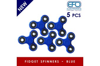5Pcs 3D Hand Spinner Fidget Toy Stress Reliever Fast Bearing Gear Spin Abs Blue 5X