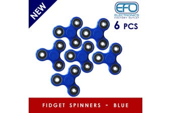 6Pcs 3D Hand Spinner Fidget Toy Stress Reliever Fast Bearing Gear Spin Abs Blue 6X