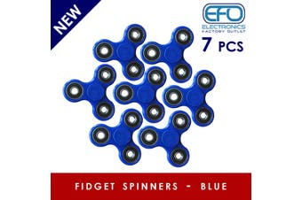 7Pcs 3D Hand Spinner Fidget Toy Stress Reliever Fast Bearing Gear Spin Abs Blue 7X
