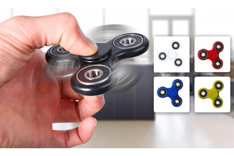 3D Hand Spinner Fidget Toy Stress Reliever Fast Bearing Gear Spin Abs Blue