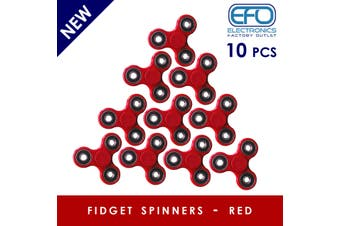10Pcs 3D Hand Spinner Fidget Toy Stress Reliever Fast Bearing Gear Spin Abs Red 10X