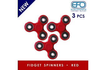 3Pcs 3D Hand Spinner Fidget Toy Stress Reliever Fast Bearing Gear Spin Abs Red 3X