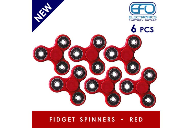 6Pcs 3D Hand Spinner Fidget Toy Stress Reliever Fast Bearing Gear Spin Abs Red 6X