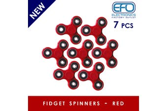 7Pcs 3D Hand Spinner Fidget Toy Stress Reliever Fast Bearing Gear Spin Abs Red 7X