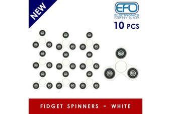 10Pcs 3D Hand Spinner Fidget Toy Stress Reliever Fast Bearing Gear Spin Abs White 10X