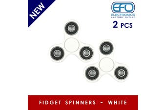2Pcs 3D Hand Spinner Fidget Toy Stress Reliever Fast Bearing Gear Spin Abs White 2X