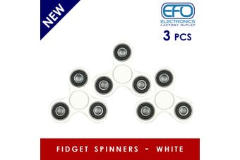 3Pcs 3D Hand Spinner Fidget Toy Stress Reliever Fast Bearing Gear Spin Abs White 3X
