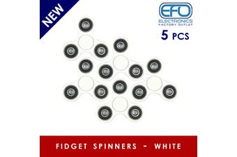 5Pcs 3D Hand Spinner Fidget Toy Stress Reliever Fast Bearing Gear Spin Abs White 5X