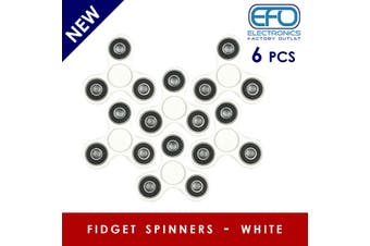 6Pcs 3D Hand Spinner Fidget Toy Stress Reliever Fast Bearing Gear Spin Abs White 6X