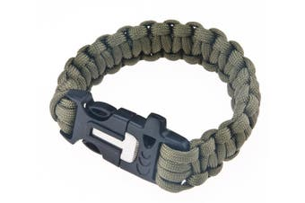 Flint Survival Bracelet Woven Paracord 3m Emergency Whistle Camping Hiking Hunting Tool