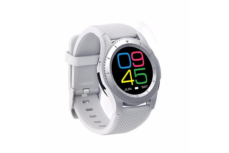 Bluetooth V4.0 Touch Lcd Smart Watch Rechargeable Heart Rate Monitor - Wht