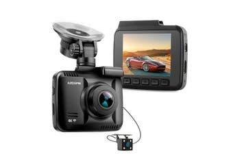"4K Fhd In Car Dvr Crash Recorder Rear Cam Gps Wifi App Android Ios 2.4"" Ips Lcd Gs63 Dual"