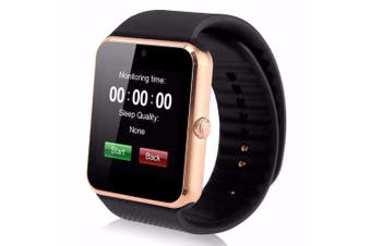 """Bluetooth V3.0 Smart Watch 1.5"""" Tft Lcd Rechargeable Antilost Call - Gold"""