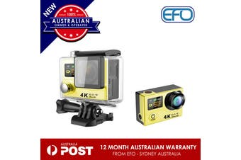 H3 Waterproof Dual Lcd Screen Uhd 4K Wifi Hdmi Sport Action Pro Camera Yellow