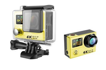H3 Waterproof Dual Lcd Screen Uhd 4K Wifi Hdmi Sport Action Pro Camera Yellow