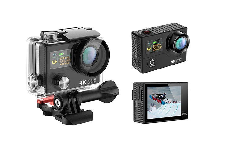 """4K Ultra Hd Wifi Sports Action Camera 2"""" Lcd Video Remote H3R Black"""