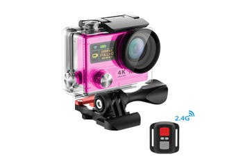 "4K Ultra Hd Wifi Sports Action Camera 2"" Lcd Video Remote H3R Pink"