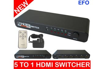 5 To 1 Hdmi Switch Switcher Hd 1080P Selector Remote Control (5 Input/1 Output)