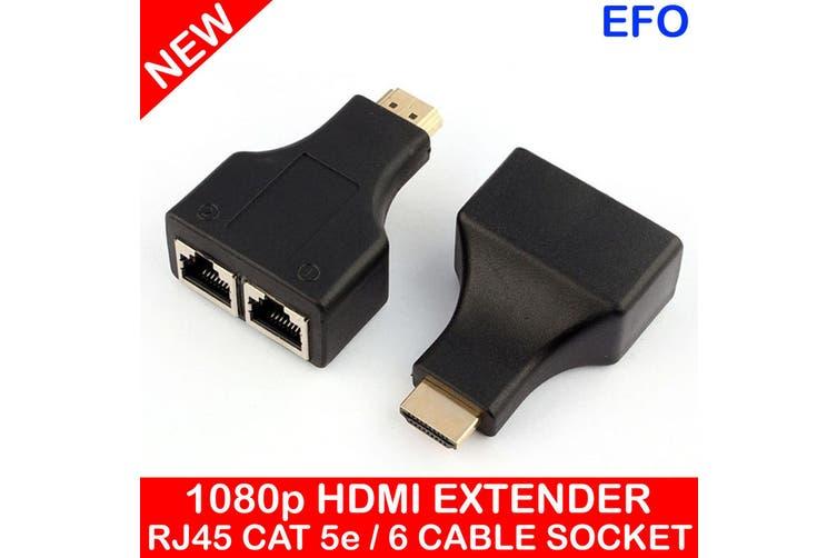 Hdmi Extender Dual Port Rj45 Cat5E / 6 Cable Connection 30M Distance