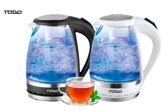 TODO 1.5L Glass Cordless Kettle Electric Blue Led Light 360 Clear Jug