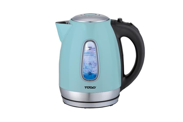 TODO 1.7L Stainless Steel Cordless Kettle 2200W Blue Led Light Electric Water Jug Blue