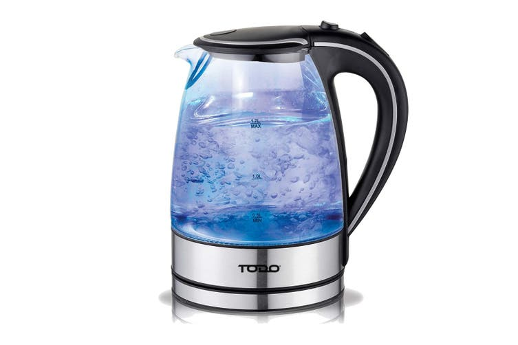 TODO 1.7L Glass Cordless Kettle 2200W Blue Led Light Electric Water Jug Black