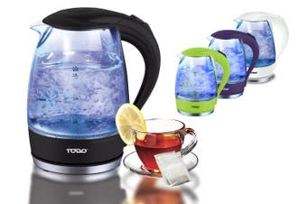 TODO 1.7L Clear Glass Cordless Kettle Electric Blue Led Light Automatic 360 Jug