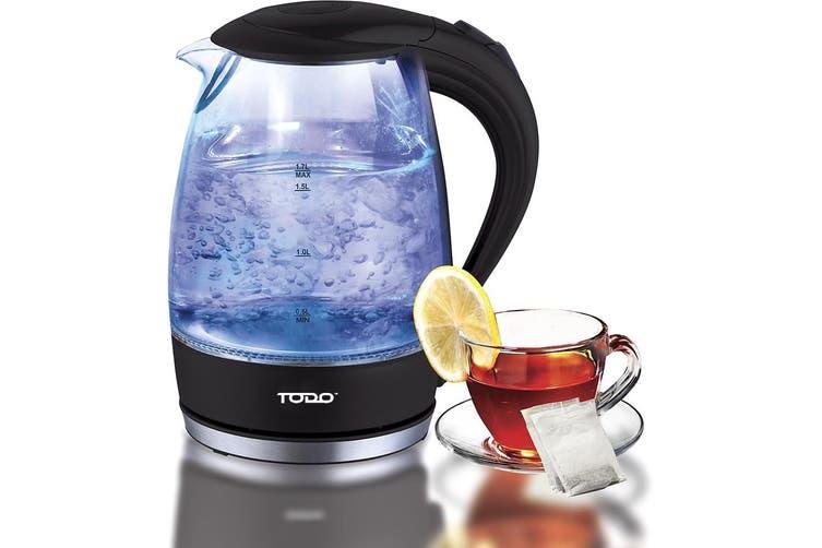 TODO 1.7L Glass Cordless Kettle 2200W Blue Led Light Kitchen Water Jug Black