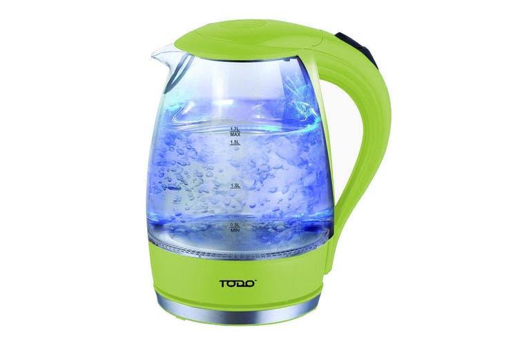 TODO 1.7L Glass Cordless Kettle 2200W Blue Led Light Kitchen Water Jug Green